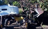 Picop y camión accidentado en la ruta entre Escuintla y Taxisco, Santa Rosa. (Foto Prensa Libre: Bomberos Voluntarios).