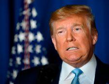 El presidente Donald Trump dijo el 3 de enero de 2020 que Estados Unidos no busca la guerra o el cambio de régimen con Irán, Menos de un día después de que Estados Unidos lanzó un ataque aéreo en Bagdad que mató al principal general de Irán, Qasem Soleimani. (Foto Prensa Libre: AFP)