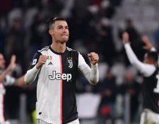 Cristiano Ronaldo durante un partido con la Juventus de Italia. (Foto Prensa Libre: AFP).