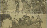Detalle de la portada de Prensa Libre del 16 de noviembre de 1960. Arriba, soldados rebeldes se rinden en Zacapa ante el avance de las fuerzas ydigoristas. Abajo, el presidente Miguel Ydígoras Fuentes habla desde un tanque a los zacapanecos sobre el fallido golpe. (Foto: Hemeroteca PL)