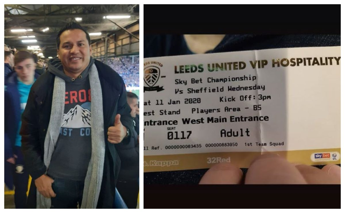 Amarini Villatoro está en Inglaterra y asiste al partido del Leeds vs. Sheffield W.