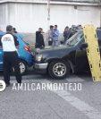 Incidente en el que murió una persona y otra resultó herida en la zona 6. (Foto Prensa Libre: PMT)
