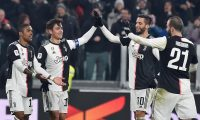 Turin (Italy), 15/01/2020.- Juventus' Paulo Dybala (2L) celebrates with teammates after scoring during the Italian Cup round of 16 soccer match between Juventus FC and Udinese Calcio at the Allianz Stadium in Turin, Italy, 15 January 2020. (Italia) EFE/EPA/ALESSANDRO DI MARCO