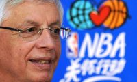 (FILES) In this file photo taken on October 11, 2009 NBA commissioner David Stern listens to questions during a press conference held before an NBA preseason exhibition game between the Denver Nuggets and the Indiana Pacers at the Wukesong Arena in Beijing. - David Stern, who masterminded the NBA's growth into a global sports powerhouse while serving as commissioner from 1984 to 2014, died on January 1, 2020 after suffering a brain hemorrhage last month. He was 77. (Photo by Frederic J. BROWN / AFP)