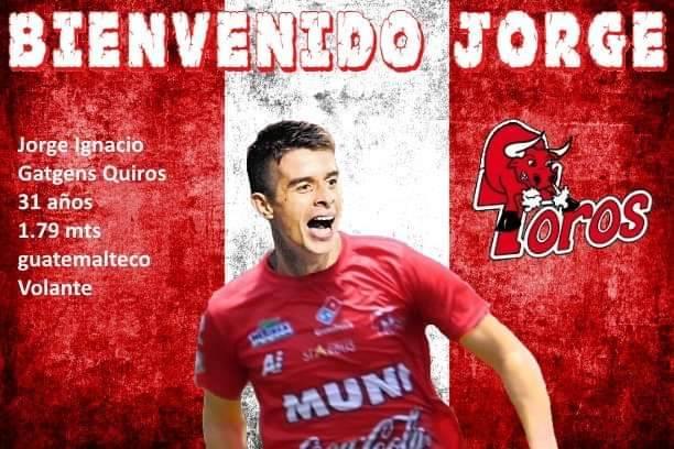 El exjugador de Guastatoya, Jorge Gatgens, es el nuevo refuerzo de los toros. (Foto Prensa Libre: Redes)