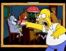 "Homero hace referencia a la obra ""Perros Jugando Poker"" de Cassius Marcellus Coolidge. (Foto Prensa Libre: Twitter)."