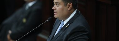 El diputado Allan Estuardo Rodríguez Reyes asume como presidente del Congreso de la República para el período 2020-2021. (Foto Prensa Libre: Érick Ávila)