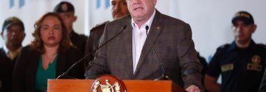 El presidente Alejandro Giammattei durante una conferencia de prensa, en la que dio detalles del trabajo de su gobierno. (Foto Prensa Libre: Esbin García)     Fotograf'a  Esbin Garcia  28-01-2020
