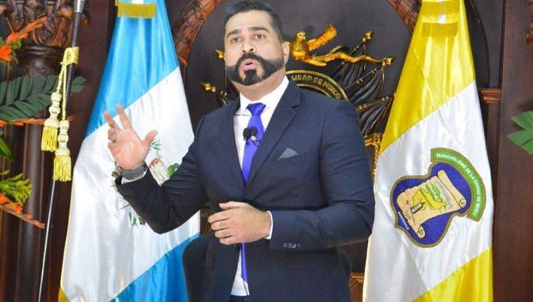 Neto Bran, alcalde de Mixco, informa de su plan de trabajo 2020-2024. (Foto Prensa Libre: María René Barrientos).