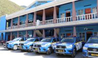 Los 20 agentes de la Policía Nacional Civil asignado a Cunén, Quiché, patrullarán el municipio con cinco autopatrullas. (Foto Prensa Libre: Héctor Cordero)