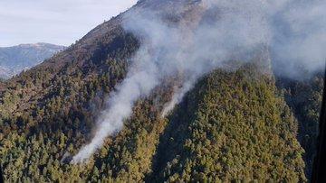 Durante tres días un incendio forestal en el volcán Tajumulco consumió un porción de bosque. (Foto Prensa Libre: Conred)