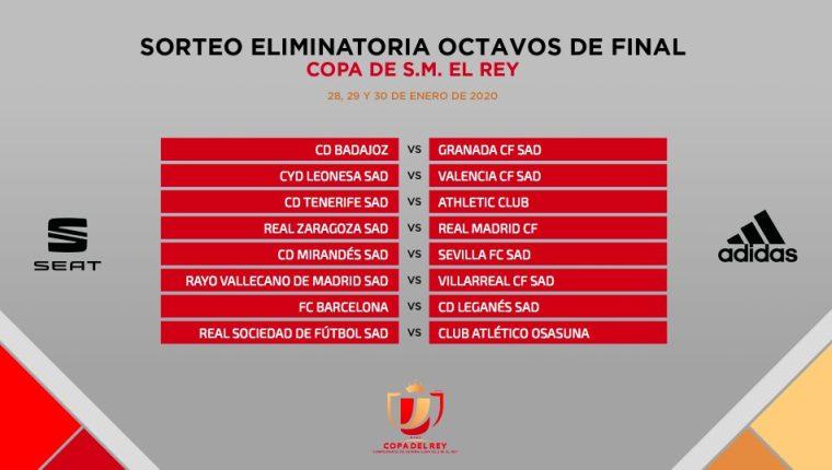 Estos son los emparejamientos de octavos de la Copa del Rey. (Foto Prensa Libre: Copa del Rey)