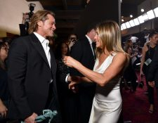 Brad Pitt y Jennifer Aniston se reencontraron en la  la 26 edición de los premios del Sindicato de Actores (SAG). (Foto Prensa Libre: AFP)