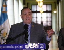 El presidente Alejandro Giammattei sostuvo varias reuniones en el Palacio Nacional de la Cultura. (Foto Prensa Libre: Noé Medina)