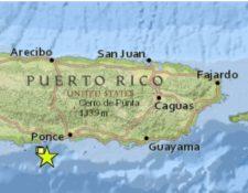 El temblor se reportó en el Sur de Guánica. (Foto Prensa Libre: Red Sísmica)