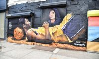 BROOKLYN, NEW YORK - FEBRUARY 08: Kobe Bryant and Gianna Bryant mural in Downtown Brooklyn on February 08, 2020 in Brooklyn, New York.   Theo Wargo/Getty Images/AFP == FOR NEWSPAPERS, INTERNET, TELCOS & TELEVISION USE ONLY ==