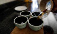 """FOTOGALERÍA 15 DE 15 - AME9126. BOQUETE (PANAMÁ), 06/02/2020.- Fotografía del 01 de febrero de 2020 que muestra a un hombre mientras sirve café geisha en la finca Elida Estate de la familia Lamastus en la provincia de Chiriquí (Panamá). En las faldas del volcán Barú, en las Tierras Altas de Panamá, unos pocos productores visionaron hace más de 10 años lo que hoy es una marca de lujo internacional: el café geisha, una variedad del grano que se vendió a 1.029 dólares la libra en 2019 en una subasta eléctrica anual. Entre boscosas montañas, cascadas y una tradición marcada por la agricultura, el pequeño pueblo de Boquete vio como en pocos años el """"boom"""" del geisha explotaba la economía de la región y una nueva forma de hacer turismo sostenible gracias al circuito del café. Es todo un fenómeno. El café representa para Panamá apenas del 0,4 % del producto interno bruto, pero gracias al geisha este país, que está muy lejos de grandes productores mundiales como Brasil, Colombia y Honduras, ha conseguido colarse en el mercado de lujo cafetero, especialmente en Asia.EFE/Bienvenido Velasco"""