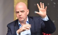 FIFA President Gianni Infantino gestures as he speaks during a public debate with members of the Association of International Sports Press (AIPS) as part of its annual congress on February 3, 2020 in Budapest, Hungary. (Photo by Attila KISBENEDEK / AFP)