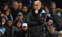 Manchester City's Spanish manager Pep Guardiola looks on during the English Premier League football match between Manchester City and West Ham United at the Etihad Stadium in Manchester, north west England, on February 19, 2020. (Photo by Anthony Devlin / AFP) / RESTRICTED TO EDITORIAL USE. No use with unauthorized audio, video, data, fixture lists, club/league logos or 'live' services. Online in-match use limited to 120 images. An additional 40 images may be used in extra time. No video emulation. Social media in-match use limited to 120 images. An additional 40 images may be used in extra time. No use in betting publications, games or single club/league/player publications. /
