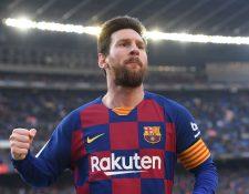 Lionel Messi celebra uno de los cuatro goles que le marcó al Eibar. (Foto Prensa Libre: AFP)