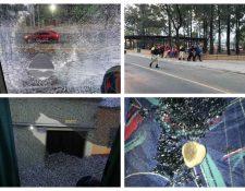 El autobus del Club Guastatoya fue agredido al salir del Estadio del Trébol. (Foto Prensa Libre: Cortesía )