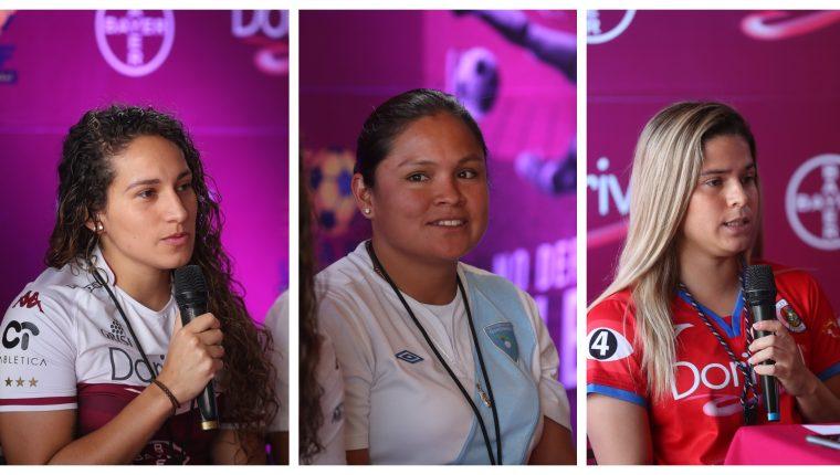 Carolina Venegas, Gloria Aguilar y Zulia Menjívar, futbolistas que luchan por un cambio. (Foto Prensa Libre: Jeniffer Gómez)