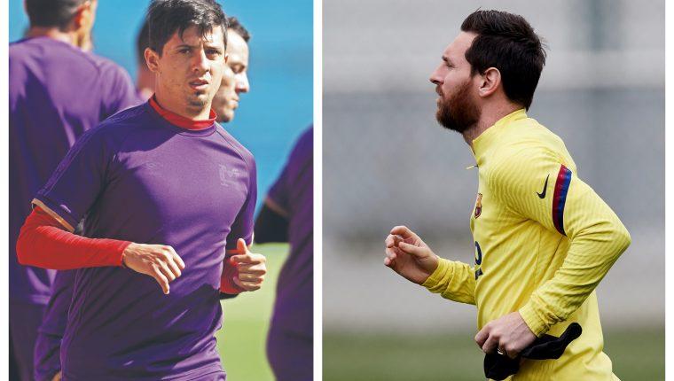 Alejandro Díaz, jugador de Municipal, y Lionel Messi, del Barcelona. (Foto Prensa Libre: Hemeroteca PL y EFE)