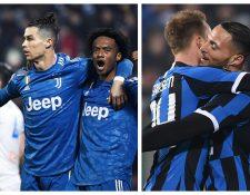 Juventus e Inter de Milán se enfrentarán en uno de los duelos más atractivos de la Serie A. (Foto Prensa Libre: EFE y AFP)