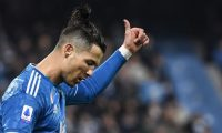Juventus' Portuguese forward Cristiano Ronaldo reacts after missing a goal opportunity during the Italian Serie A football match SPAL vs Juventus on February 22, 2020 at the Paolo-Mazza stadium in Ferrara. (Photo by Isabella BONOTTO / AFP)