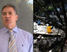 El embajador Fernando Sanclemente y una imagen del narcolaboratorio hallado en su finca. (Foto Prensa Libre: AFP).