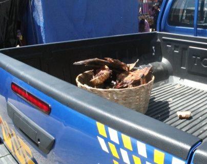 Una canasta con carne de lagarto fue parte del decomiso. (Foto Prensa Libre: María Longo)