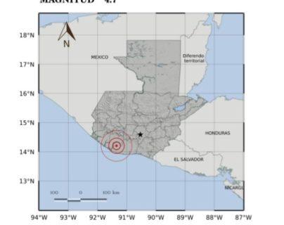 Mapa muestra el epicentro del sismo de las 7.2 horas de este lunes 3 de febrero. (Foto Prensa Libre: Conred).