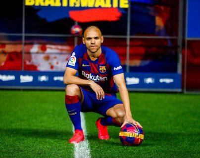 Martin Braithwaite es el nuevo rostro en la ofensiva del Barsa. (Foto Prensa Libre: FC Barcelona)