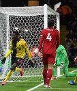 Ismaila Sarr festeja uno de los goles de la victoria del Watford contra Liverpool. (Foto Prensa Libre: AFP).