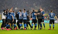 Milan (Italy), 09/02/2020.- FC Inter players celebrate the victory following the Italian Serie A soccer match between Inter Milan and AC Milan at the Giuseppe Meazza Stadium in Milan, Italy, 09 February 2020. (Italia) EFE/EPA/ROBERTO BREGANI