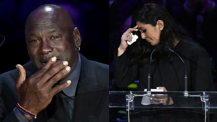 Michael Jordan y Vanessa Bryant en el tributo a Kobe Bryant. (Foto Prensa Libre: AFP).