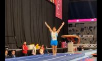 Jorge Vega participó en la final de piso en la Copa Mundial de Gimnasia Artística 2020 en Australia. (Foto Prensa Libre: Twitter World Cup Gymnastics)