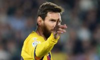 Barcelona's Argentine forward Lionel Messi gestures during the Spanish league football match between Real Betis and FC Barcelona at the Benito Villamarin stadium in Seville on February 9, 2020. (Photo by CRISTINA QUICLER / AFP)