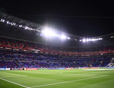 This picture taken on February 26, 2020 shows the Parc Olympique Lyonnais stadium in Decines-Charpieu prior the UEFA Champions League round of 16 first-leg football match between Lyon and Juventus, on February 26, 2020. (Photo by FRANCK FIFE / AFP)