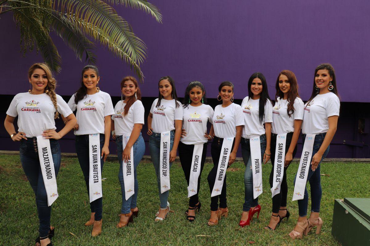 Ellas son las nueve señoritas que buscan la corona de reina del Carnaval Mazateco