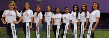 Las nueve candidatas que buscan el reinado departamental del Carnaval Mazateco. (Foto Prensa Libre.Marvin Túnchez)
