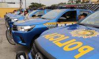 Comisaria de la PNC de Escuintla recibió nueve patrullas gestionadas por Gobernación Departamental. (Foto Prensa Libre: Carlos Paredes)