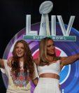Jennifer Lopez y Shakira se presentaron en el Hilton Miami Downtown de Miami para dar detalles sobre el show de medio tiempo que brindarán en el Super Bowl. (Foto Prensa Libre: AFP)
