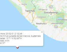 El epicentro del sismo fue a 104 kilómetros al Suroeste de San Marcos, frente a las costas del Pacífico. (Foto Prensa Libre: Cortesía)