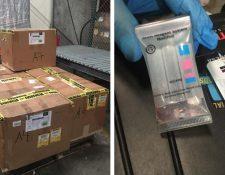El MP tomó muestras de varios medicamentos que estaban resguardados en una bodega privada en el Aeropuerto Internacional La Aurora. (Foto Prensa Libre: MP)
