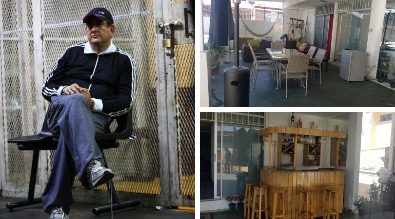 Un bar, una sala y hamacas; así permanecía Gustavo Alejos mientras estaba internado en un sanatorio