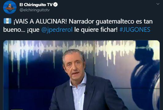 Josep Pedrerol alaba al narrador guatemalteco Federico Choc. (Foto Prensa Libre: Twitter)