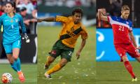 De izquierda a derecha, los jugadores nominados, Hope Solo, Carlos Ruiz y Clarence Goodson. (Foto Prensa Libre: National Soccer Hall of Fame).