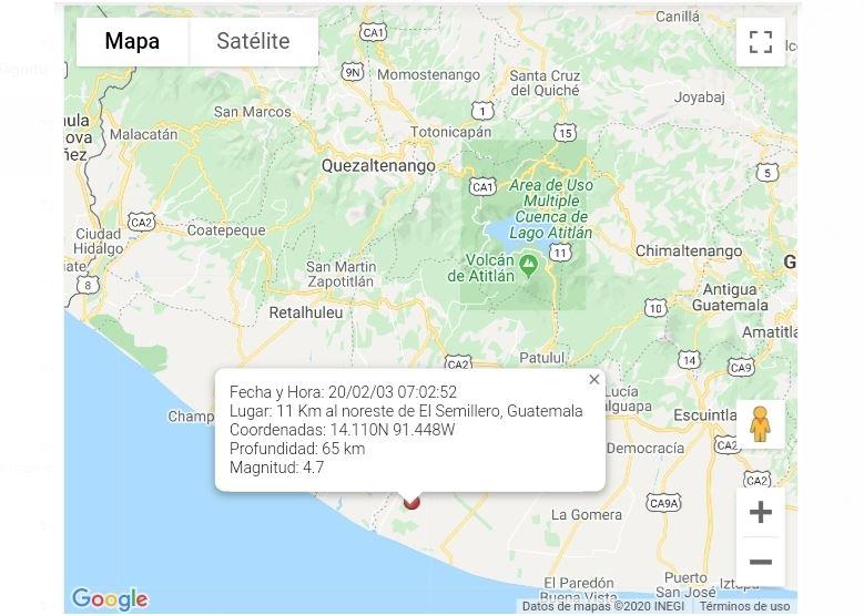 Temblor de hoy 03 de febrero: Sensible en varios departamentos de Occidente