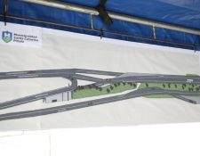 Plano del paso a desnivel que será construido entre Santa Catarina Pinula y la Ciudad de Guatemala. (Foto Prensa Libre: Cortesía Municipalidad de Guatemala).